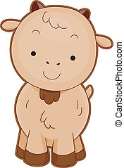 Goat Front View - Illustration of a Cute Goat Smiling...