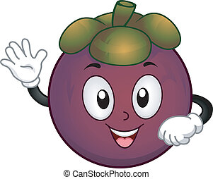 Mangosteen Mascot - Mascot Illustration Featuring a...