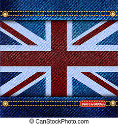 Union Jack denim - Union Jack motif of denim background with...