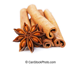 Cinnamon sticks and anisetree isolated on white background