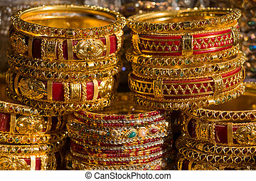 Colorful indian bangles - Traditional Indian bangles with...
