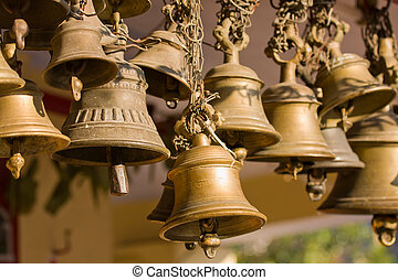 Hindu temple bell - Bells of the old temple in Rudraprayag,...