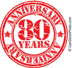Grunge 80 years happy birthday rubber stamp, vector...
