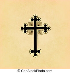 Vintage christian cross on old paper