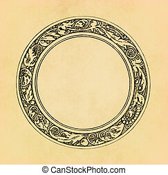 Vintage circle frame on old paper with copy space