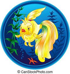 Wonderful golden fish. Colourful illustration.