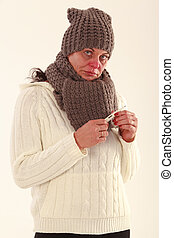 Elderly woman with a cold