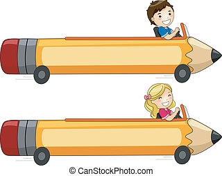 Pencil Car Banner - Banner Illustration Featuring Kids...
