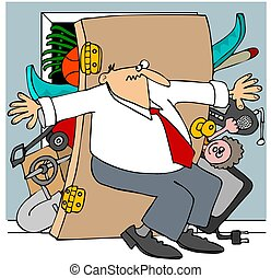 Full closet - This illustration depicts a man trying to hold...