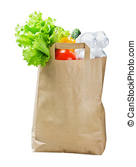 food in a paper bag isolated