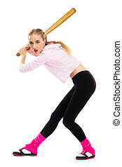 Pretty lady with a baseball bat, isolated on white...