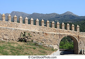 Castle battlements - Battlements of Arta Fortress. Mallorca,...