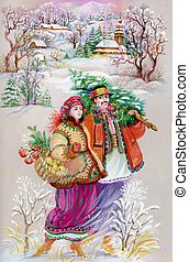 Girl and boy in traditional clothes - young girl and boy on...