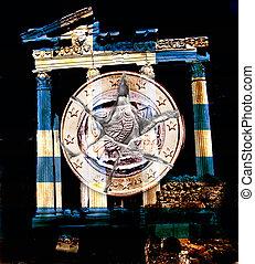 Greece Euro coin - A broken Greece Euro coin with an ancient...