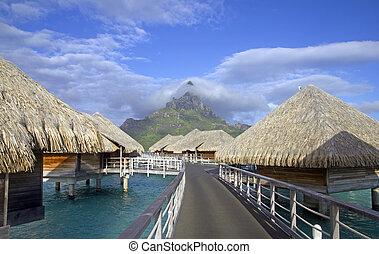 polynesian paradise - bora bora otemanu mountain with lagoon...