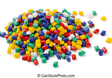 Polymer granules - Pile of colorful plastic polymer granules...