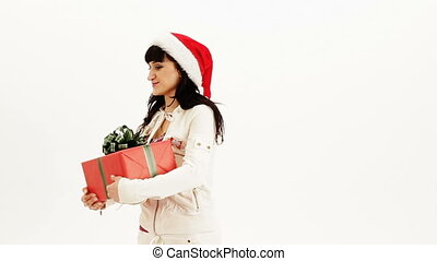 Receiving presents - A woman receiving lots of gifts on...