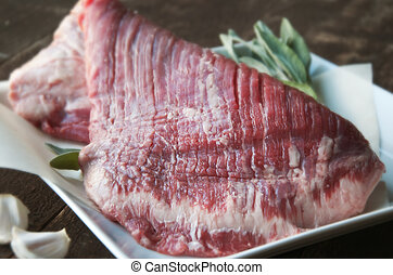 Flank Steak - Fresh grass fed beef with garlic and herbs