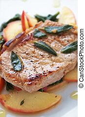 Autumn Pork Chop - Golden pork chop with warm apple and...