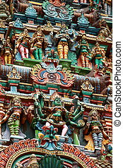 Kali image. Sculptures on Hindu temple gopura (tower)....