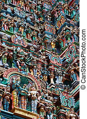 Kali image Sculptures on Hindu temple gopura tower Menakshi...