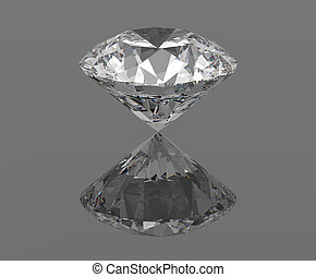 Diamond, gemstone isolated with reflections, 3d render