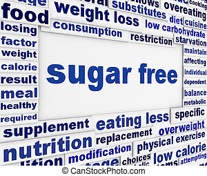 Sugar free message background design Healthy food poster...
