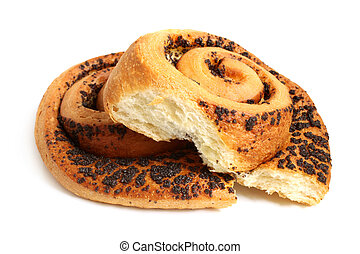 Bun with poppyseed on a white background