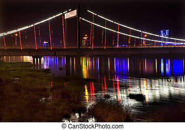 Bridge Nightlights China - Jiangqun Qiao, General Bridge,...