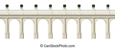 Tuscany colonnade isolated on white - Tuscany colonnade with...