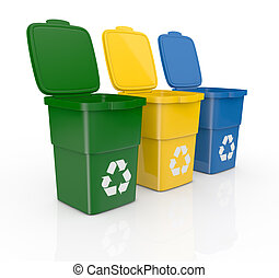 recycling bins - one row of three recycling bins open, in...