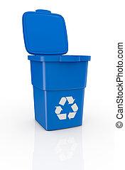 recycling bin - one recycling bin open, with recycling...