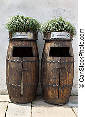 Wooden Rubbish bins in china - Wooden barrel and recycling...