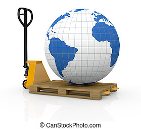 shipping everywhere - one pallet truck or forklift with a...