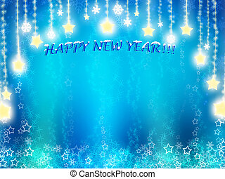 happy New Year background in blue tones with stars