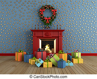 christams room with fireplace - empty vintage room with red...