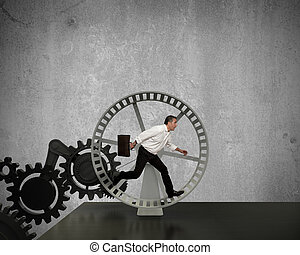 Generator of business power - Businessman running in a...