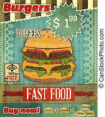 Grunge Cover for Fast Food Menu - hamburger on vintage...