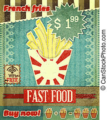 Grunge Cover for Fast Food Menu - French fries on vintage...