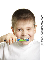 Teeth brushing with smile - Smiling boy in white t-shirt...