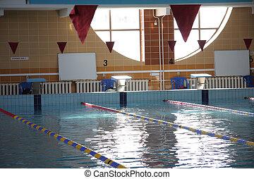 Swimming pool starting line