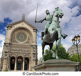 Jeanne d'Arc. - Equestrian statue of Joan of Arc (Jeanne...