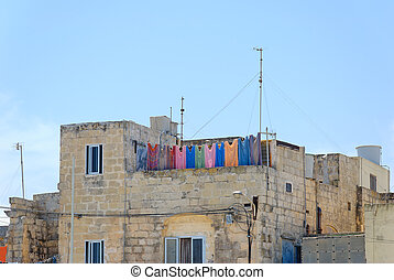 Colourful Laundry - Multicoloured laundry, hanging for...