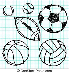 Sport ball hand draw on graph paper. - Sport ball hand draw...
