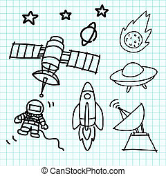 Space set hand draw on graph paper. - Space set hand draw on...
