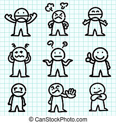 Emotion cartoon on graph paper. - Emotion cartoon on blue...
