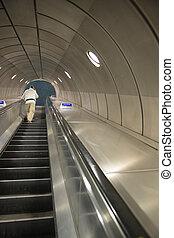 London underground tube station - futuristic background