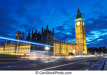 Palace of Westminster with Big Ben seen from Westminster Bridge at Night - London - UK