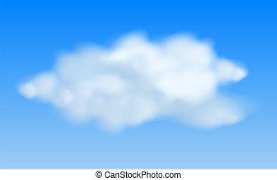 Realistic clouds in the blue sky Vector Illustration