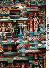 Kali image. Sculptures on Hindu temple gopura (tower). Menakshi Temple, Madurai, Tamil Nadu, India